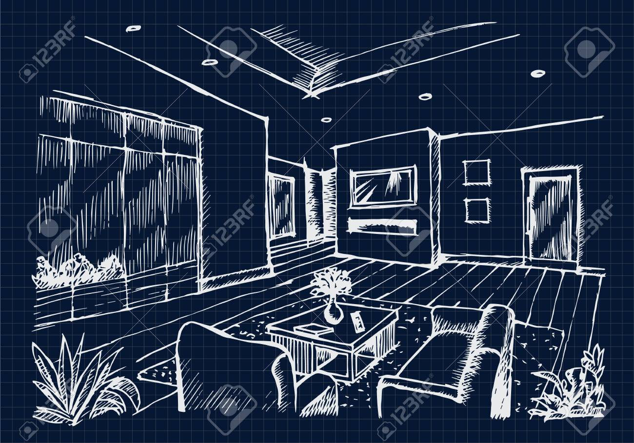 Hand Drawing Interior Design For Living Room On Blue Print Background Vector Stock