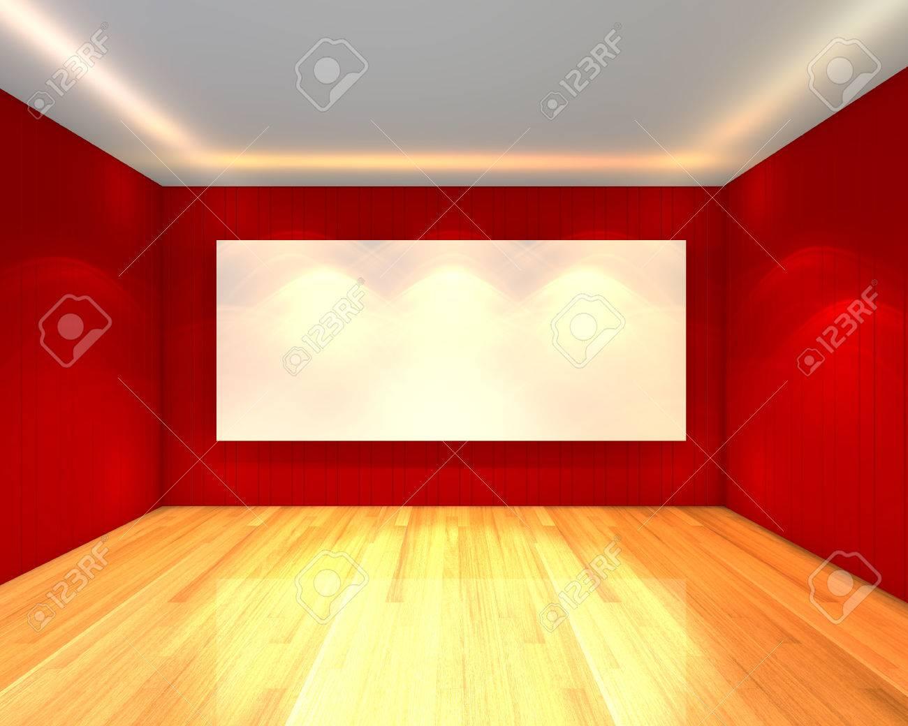 Intérieur de la chambre à vide avec écran blanc sur mur rouge ...