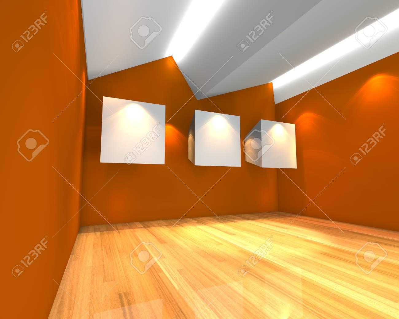 Superieur Banque Du0027images   Intérieur De La Chambre à Vide Avec Une Toile Blanche Sur  Le Mur Orange Dans La Galerie