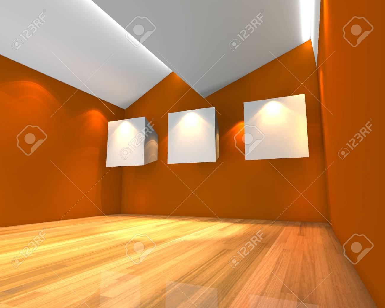 Charmant Banque Du0027images   Intérieur De La Chambre à Vide Avec Une Toile Blanche Sur  Le Mur Orange Dans La Galerie