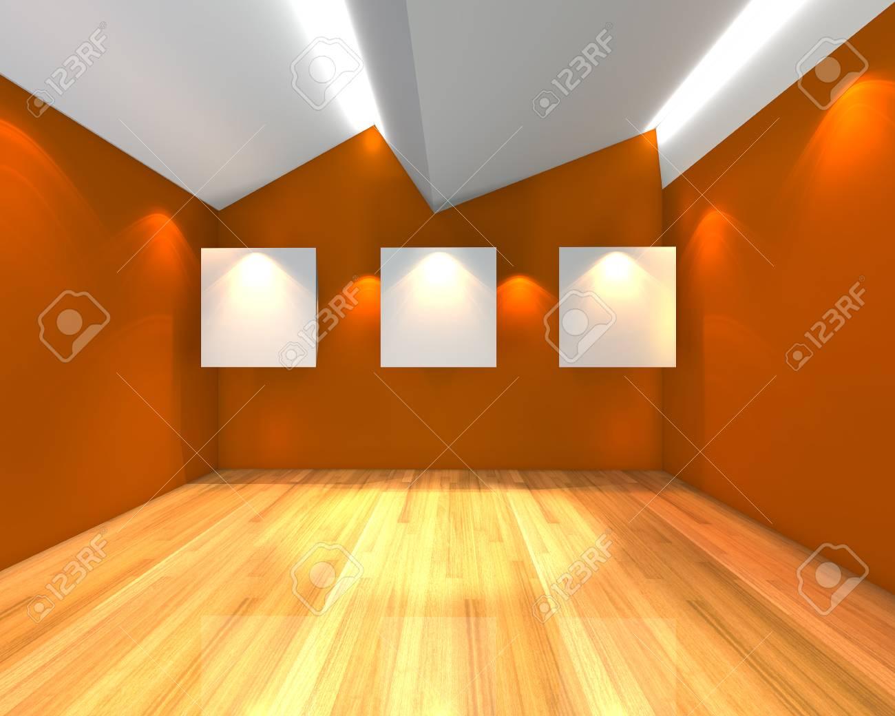 Intérieur de la chambre à vide avec une toile blanche sur le mur orange  dans la galerie