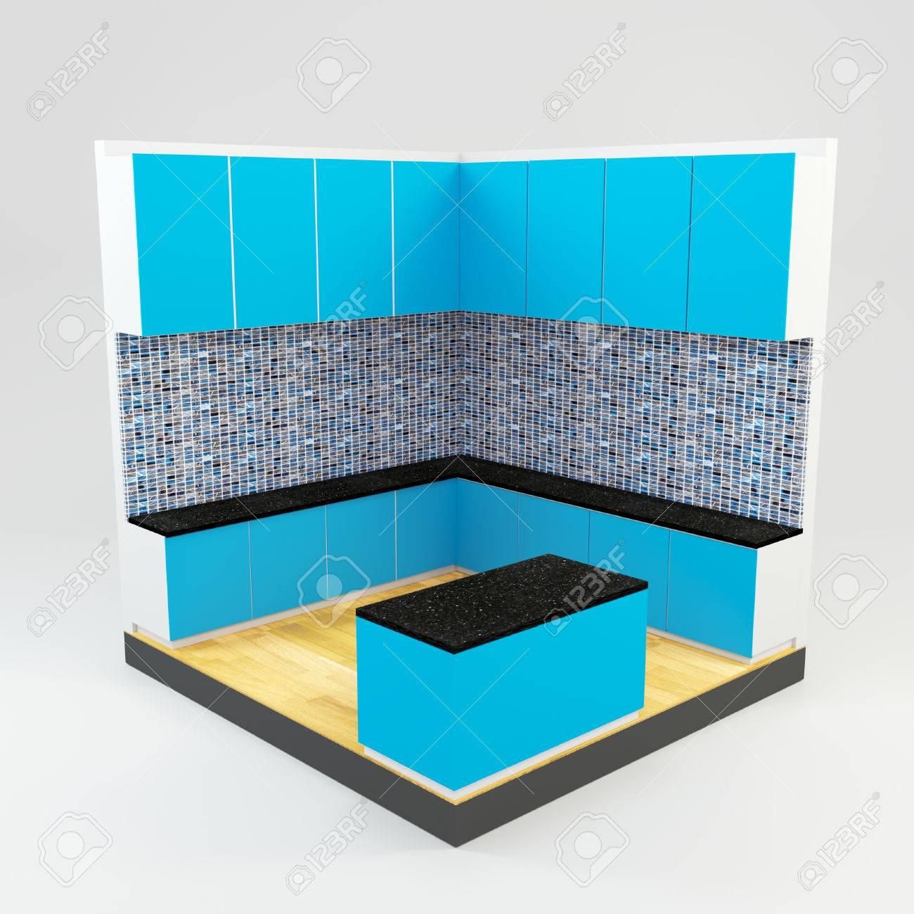 Hervorragend Blaue Küche Zimmer Mit Edelsteinen Steinmosaikwand Und Holzboden  Standard Bild   28374620