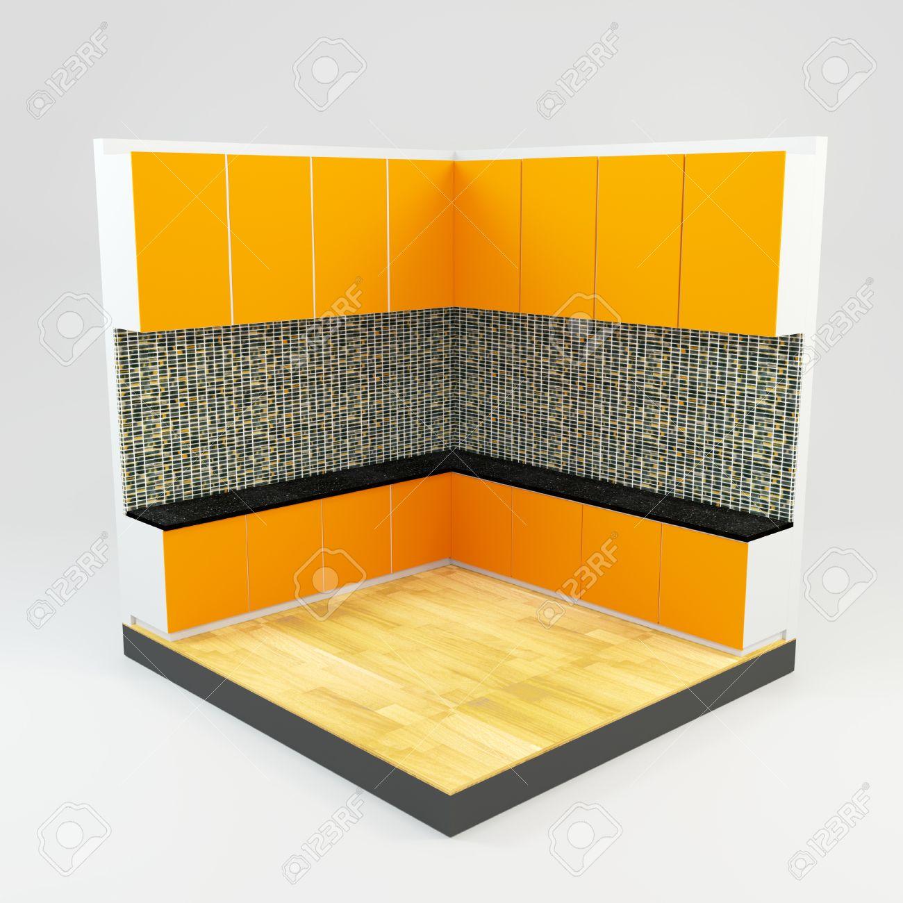 Orange Salle De Cuisine Avec Le Mur En Pierre Gemmes De Mosaïque Et ...
