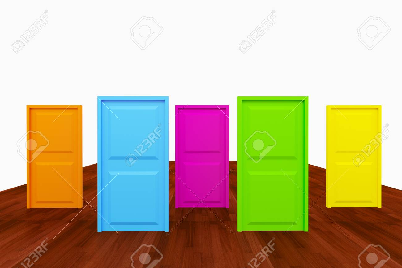 Choice With Multi Color Door On Wood Floor