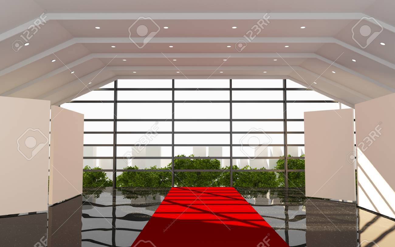 Office Interior Modern With Red Corridor And Black Granite Floor Stock Photo Picture And Royalty Free Image Image 29804755