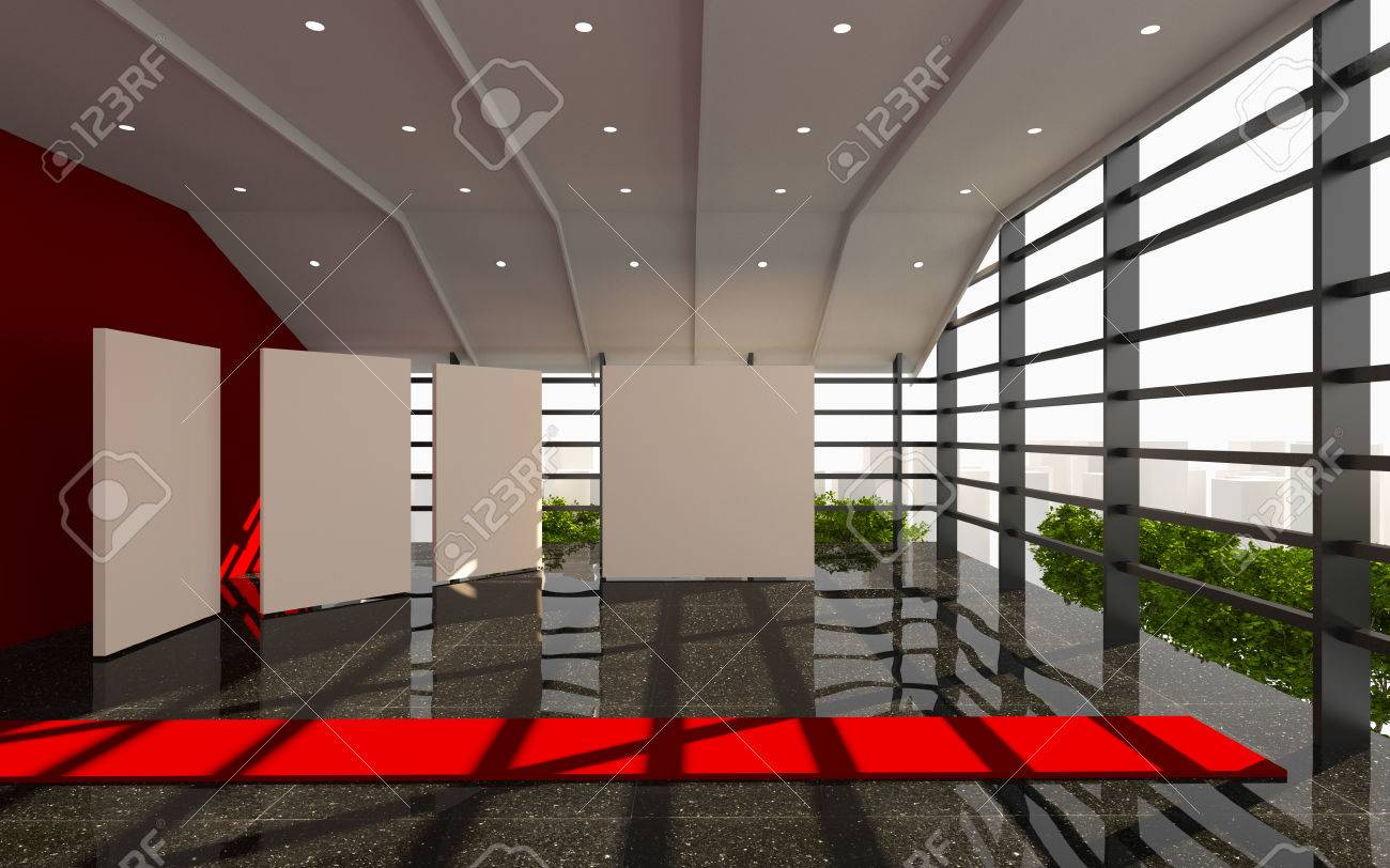 Red Office Interior Modern With White Blank And Black Granite Floor Stock Photo