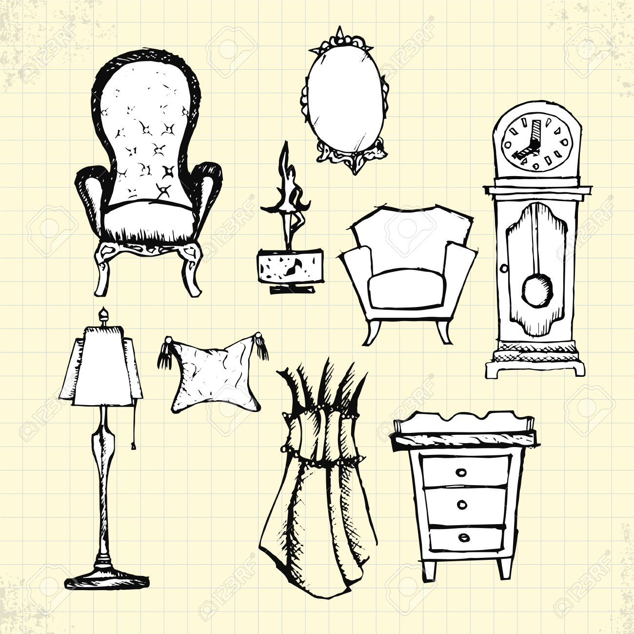 Antique chair drawing - Doodle Antique Furniture On Paper Vector Drawing Stock Vector 30118637