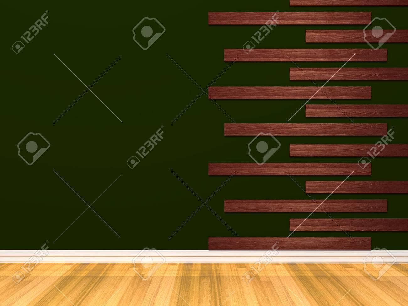 Leere Grüne Zimmer Mit Holzfußboden Und Wandverkleidung Mit