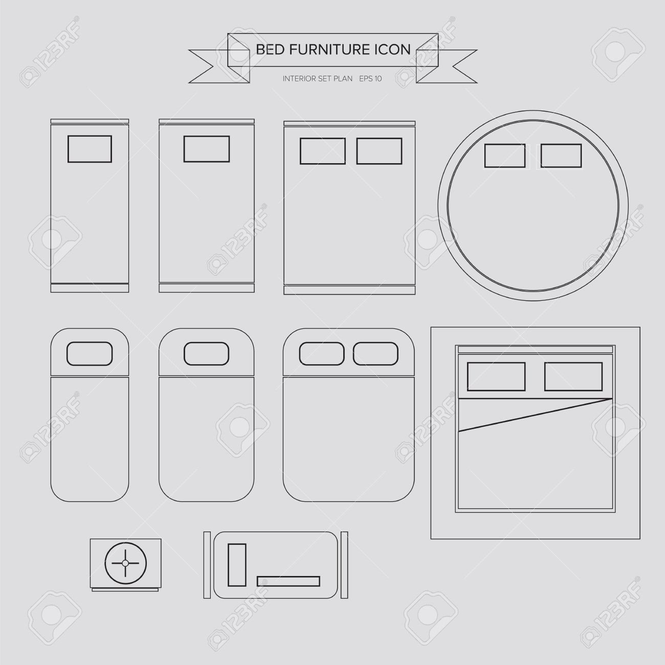 Bed design top view image - Bed Furniture Outline Icon Top View For Interior Plan Stock Vector 31591933