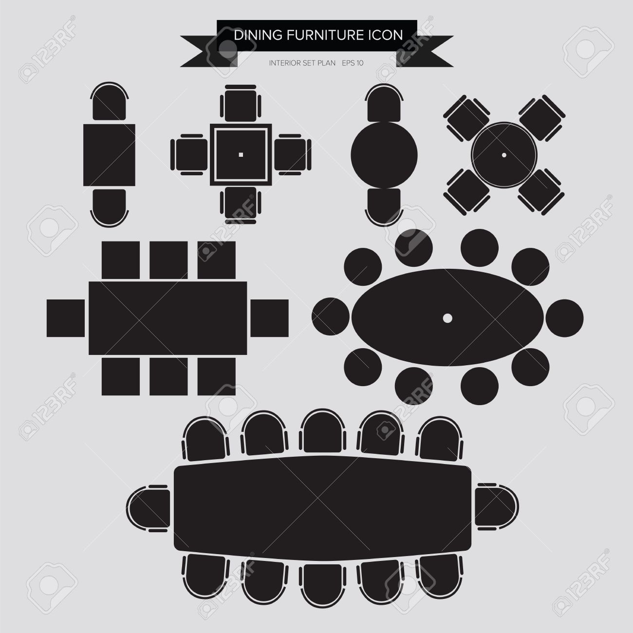 Table and chairs top view - Dinning Furniture Icon Top View For Interior Plan Stock Vector 31591936