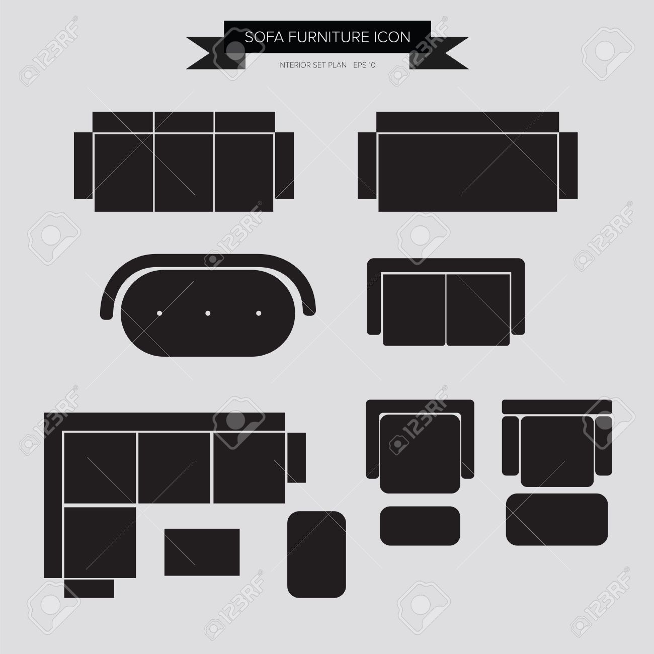 Sofa Furniture Icon Top View For Interior Plan Vector Eps10 Stock