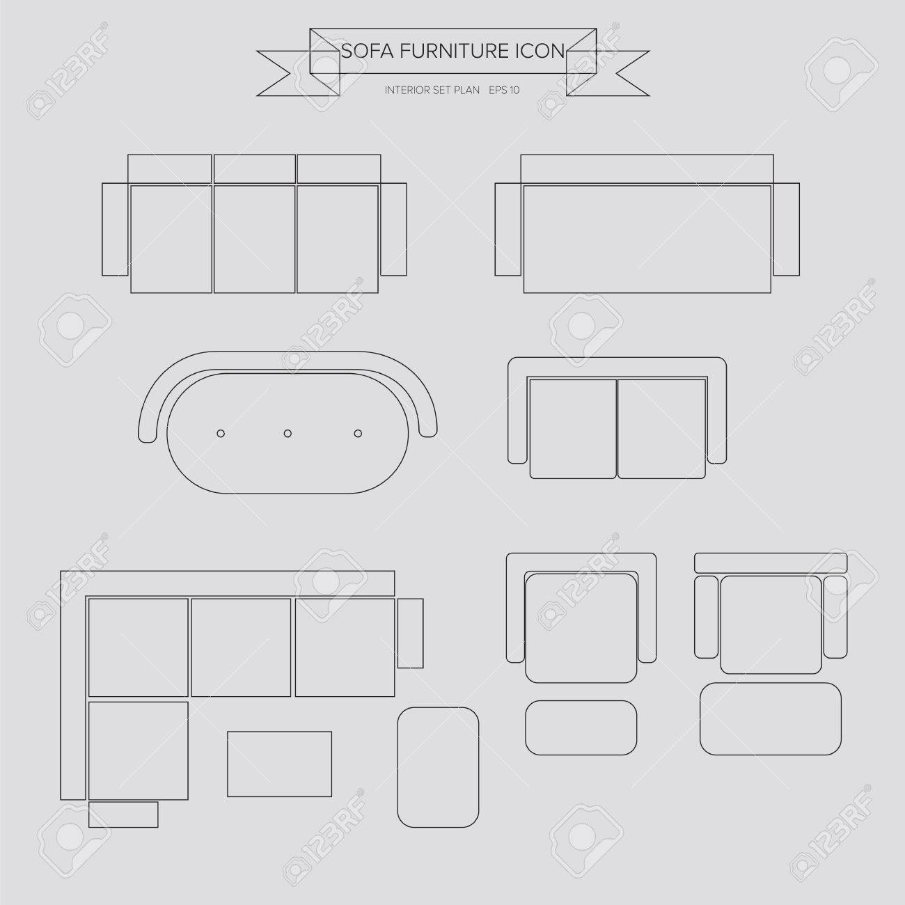 Sofa Furniture Outline Icon Top View For Interior Plan Royalty Free