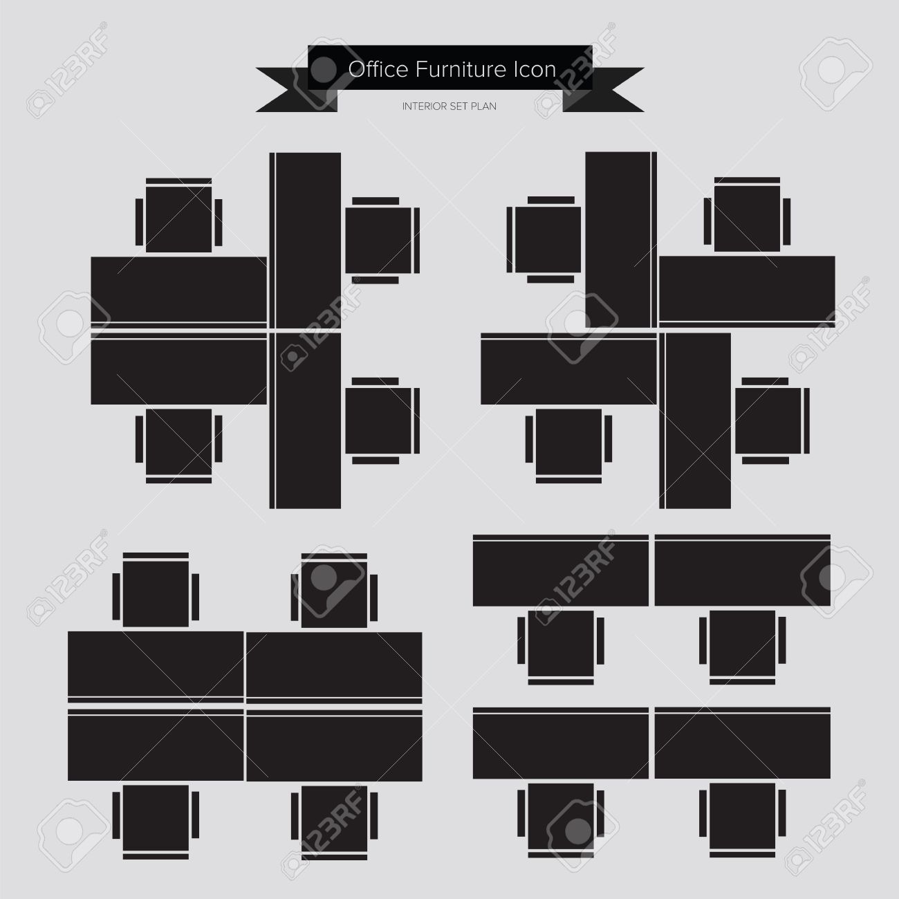 Office furniture top view - Office Furniture Icon Top View For Interior Plan Stock Vector 31734604