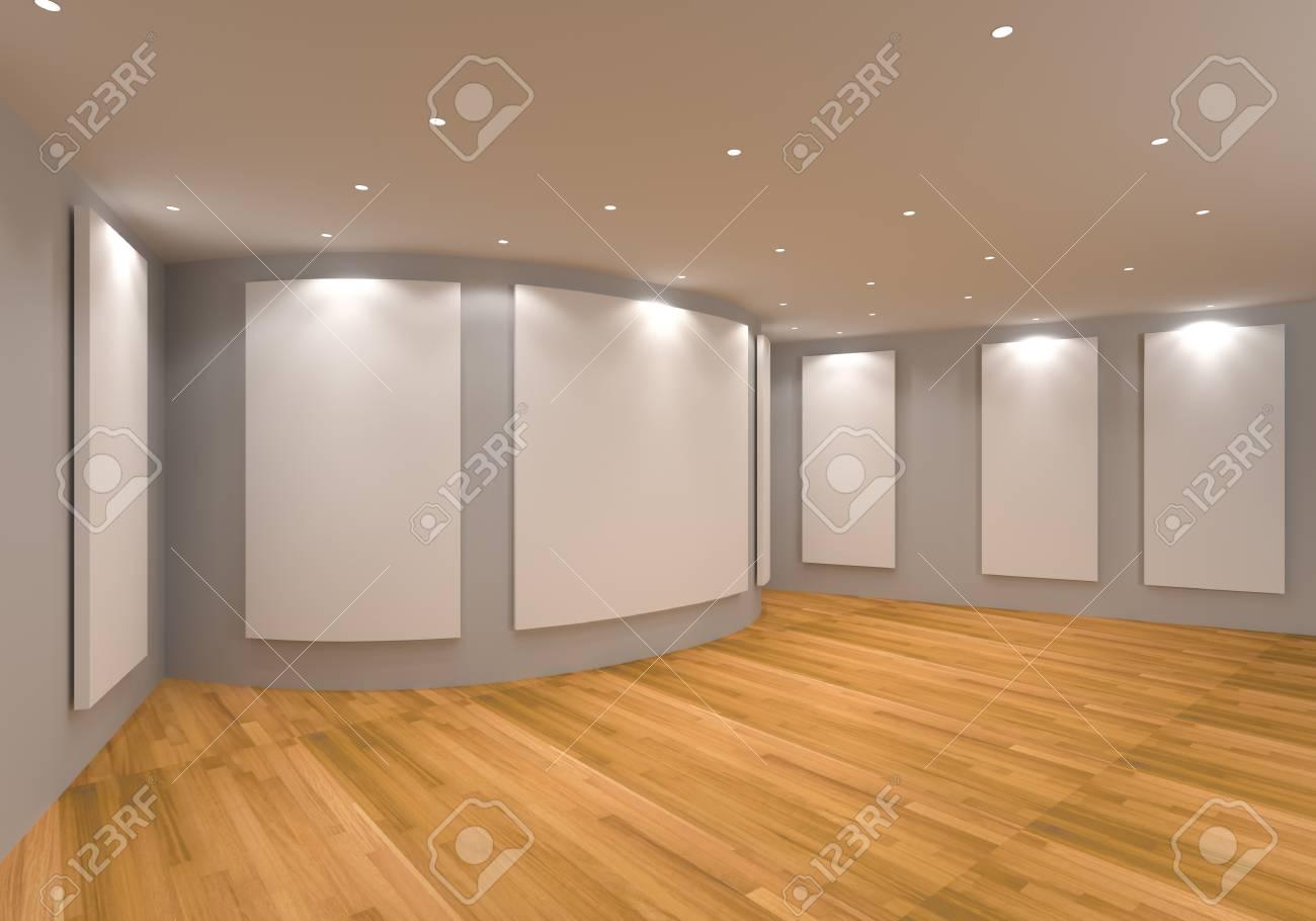 Attraktiv Leerer Raum Interieur Mit Weißen Leinwand Auf Einer Grauen Wand In Der  Galerie. Standard