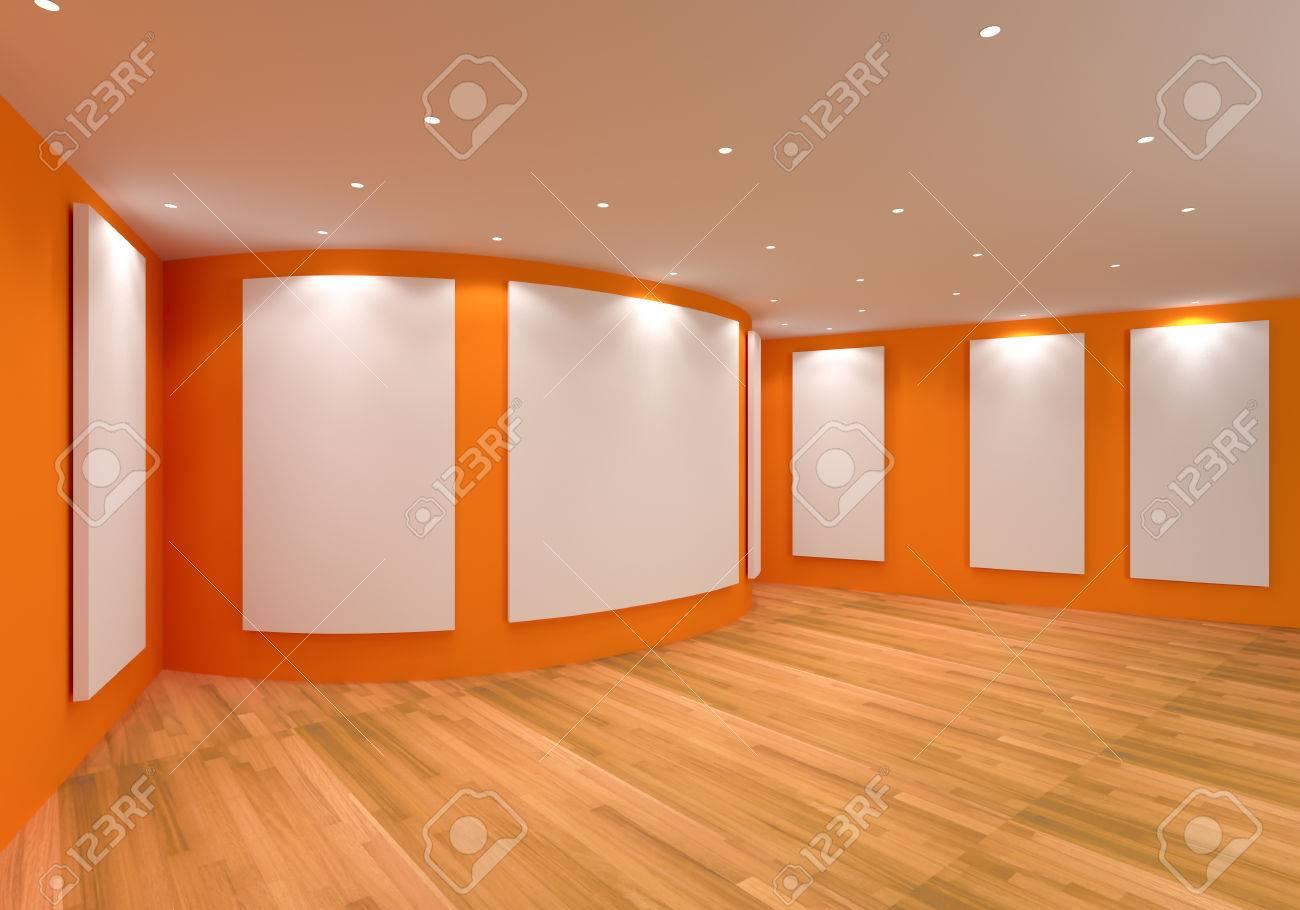 Intérieur de la chambre à vide avec toile blanche sur un mur orange dans la  galerie.