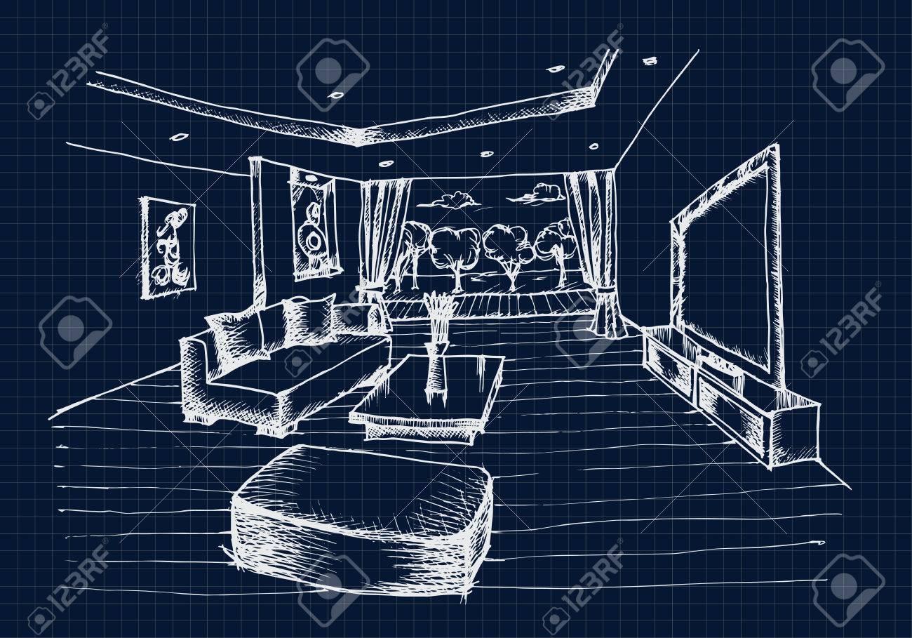 handzeichnung interior design für das wohnzimmer auf blauem ... - Wohnzimmer Bilder Fr Hintergrund