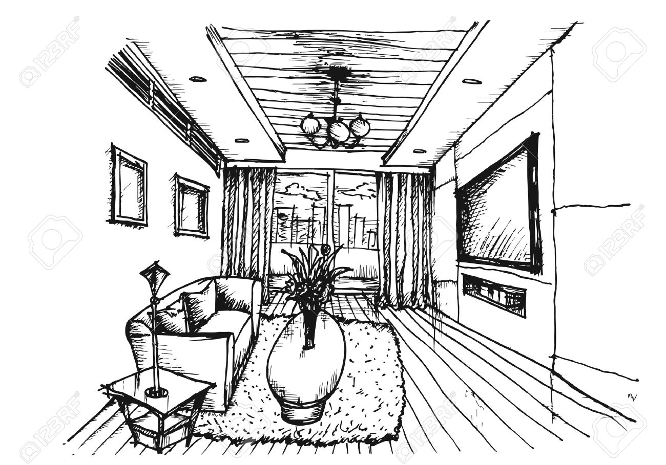Hand Drawing Interior Design For Living Room On White Background ...
