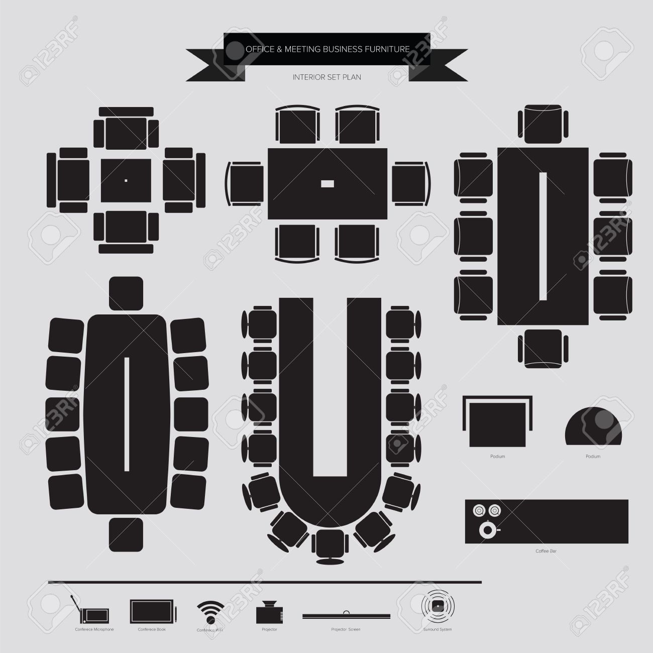 Office furniture top view - Office And Conferance Business Furniture Icon Top View For Interior Plan Stock Vector 32601598