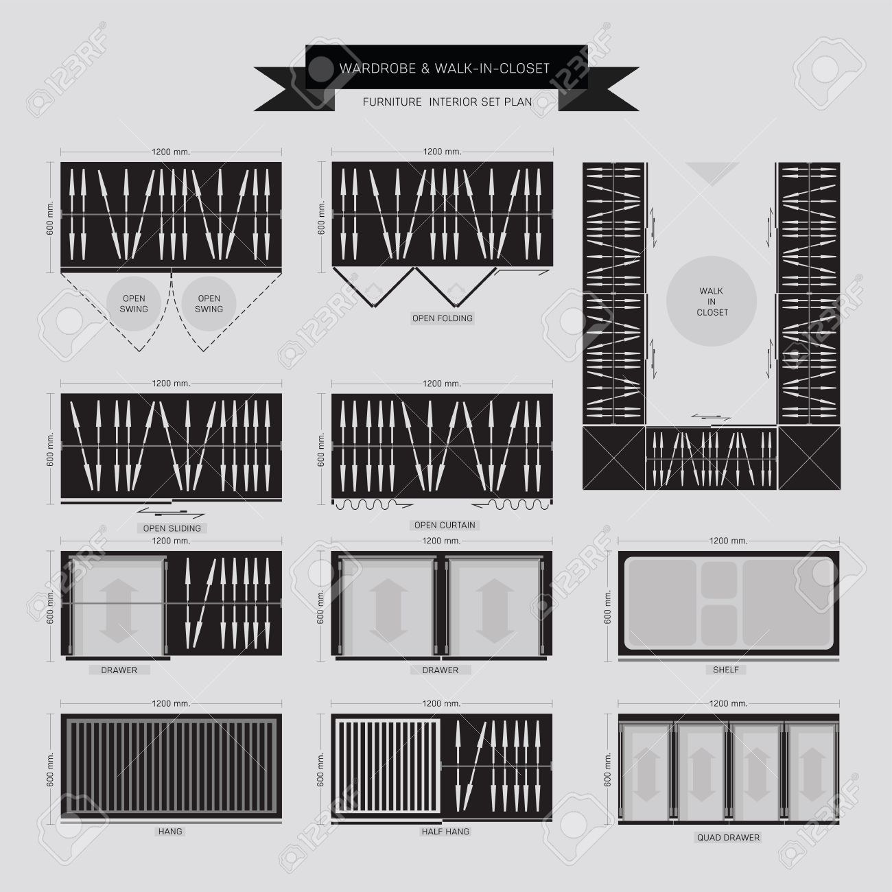Vector   Wardrobe And Walk In Closet Furniture Icon, Top View For Interior  Plan