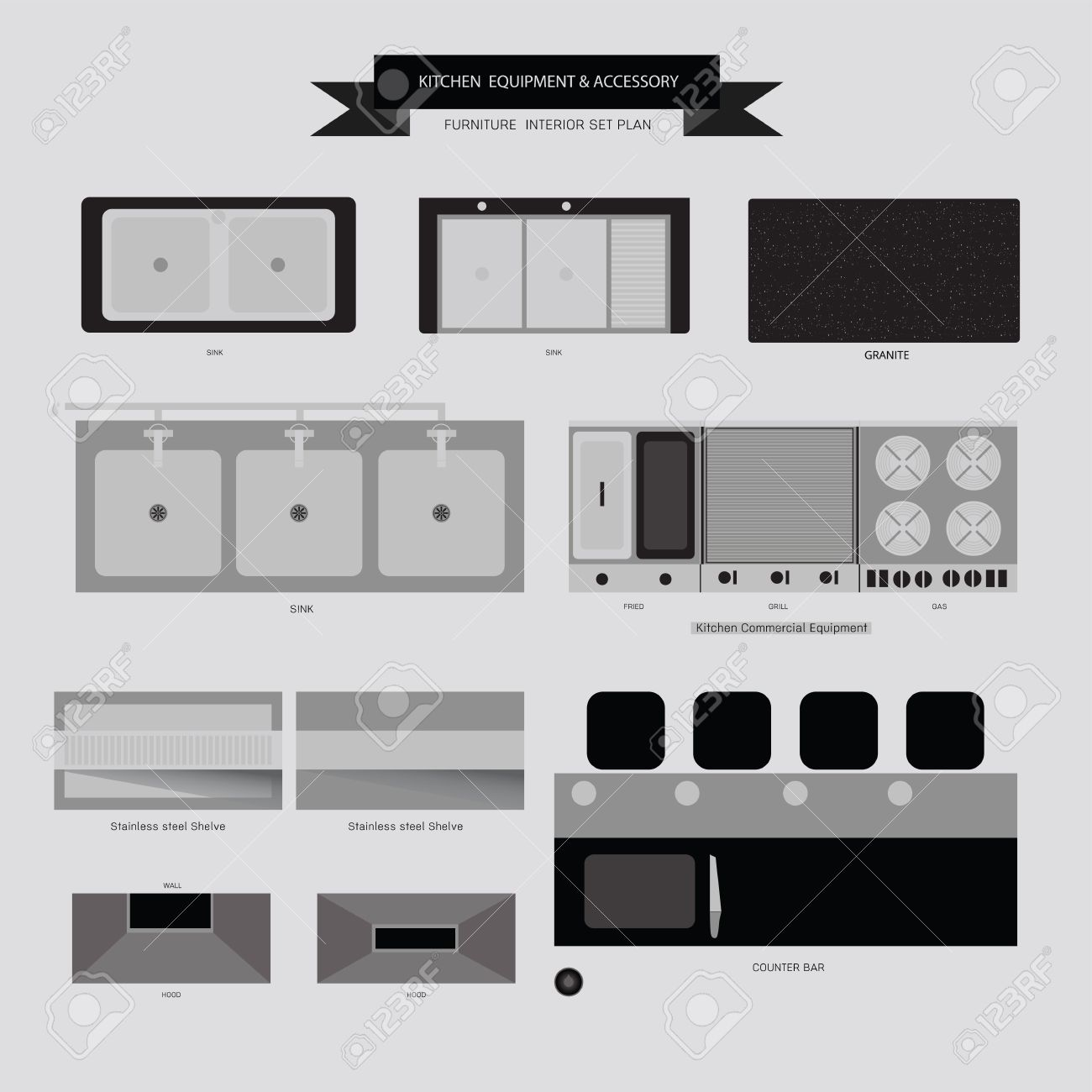 Kitchen Equipment And Accessory Furniture Icon Top View For