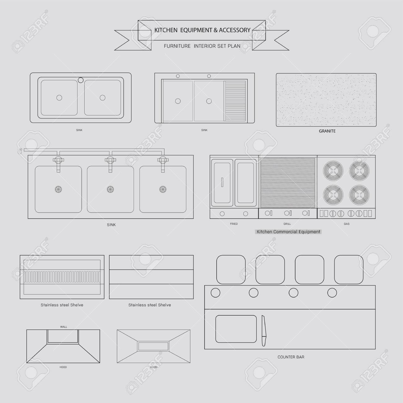 Quipement De Cuisine Et De Meubles Accessoire Outline Icone Vue De Dessus Pour Le Plan Interieur