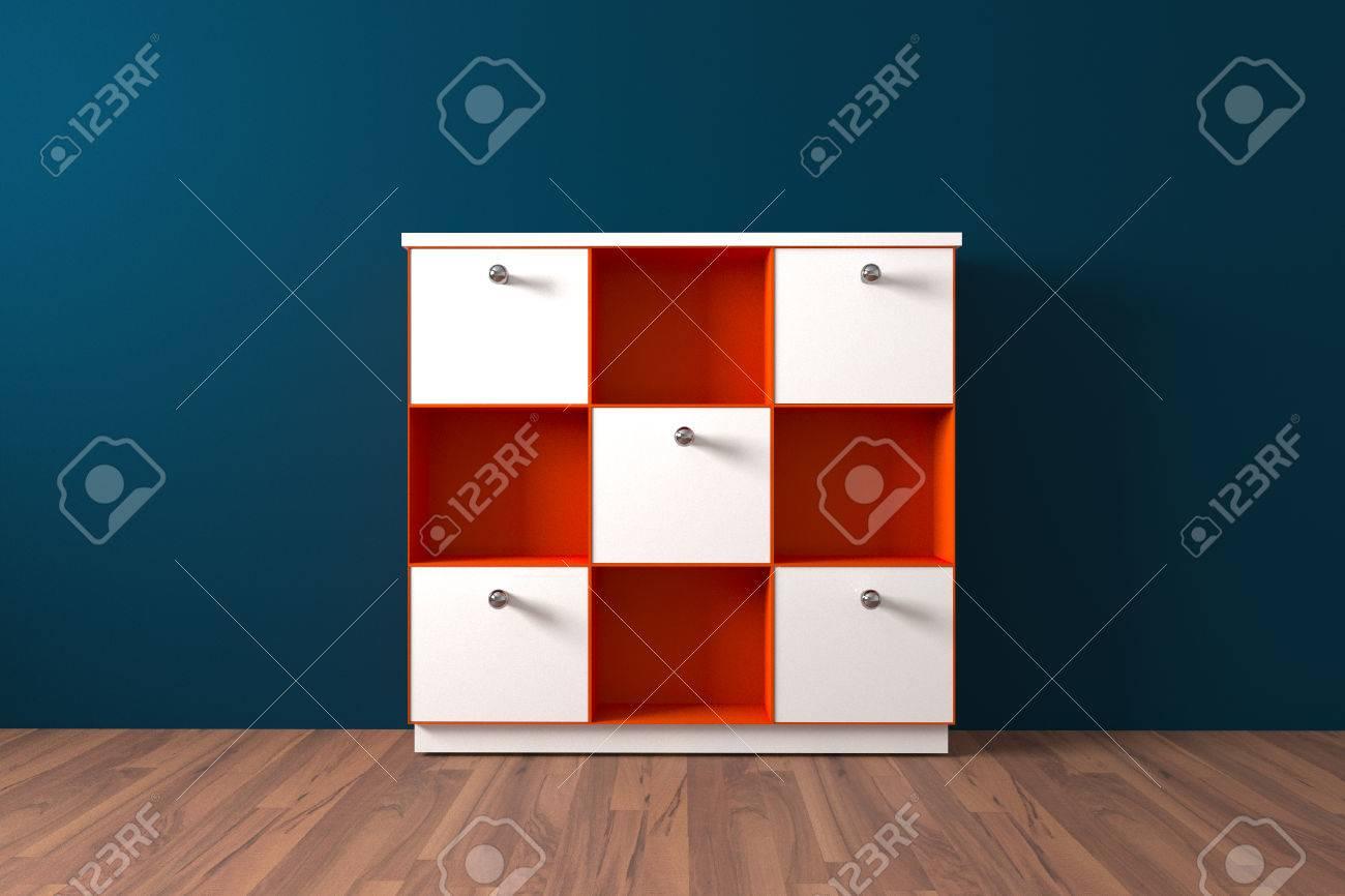 Orange plateau et blanc cabinet privé Meubles dans la chambre vide décorent  le mur bleu et plancher en bois