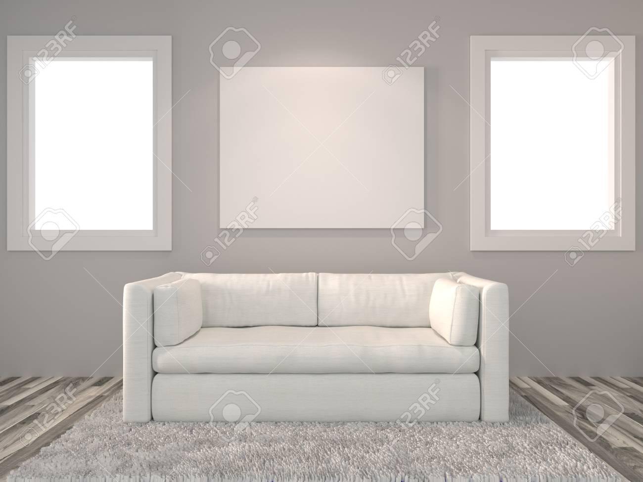 Moderne Inter Wohnzimmer Mit Weißen Fenster Und Einem Schönen Weißen Sofa  Möbel