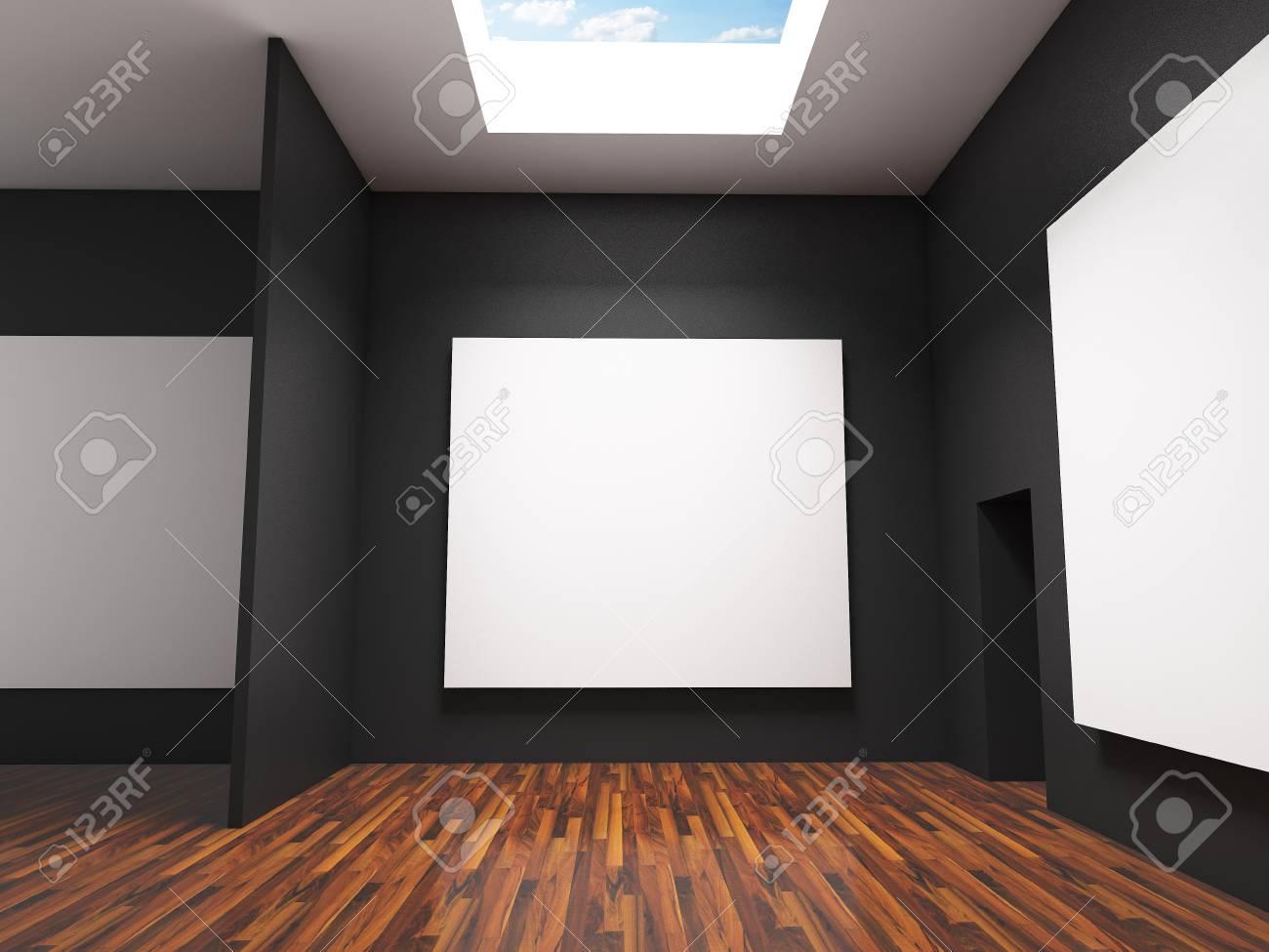 Chambre Avec Un Mur Noir intérieur de la chambre à vide avec de grandes toiles