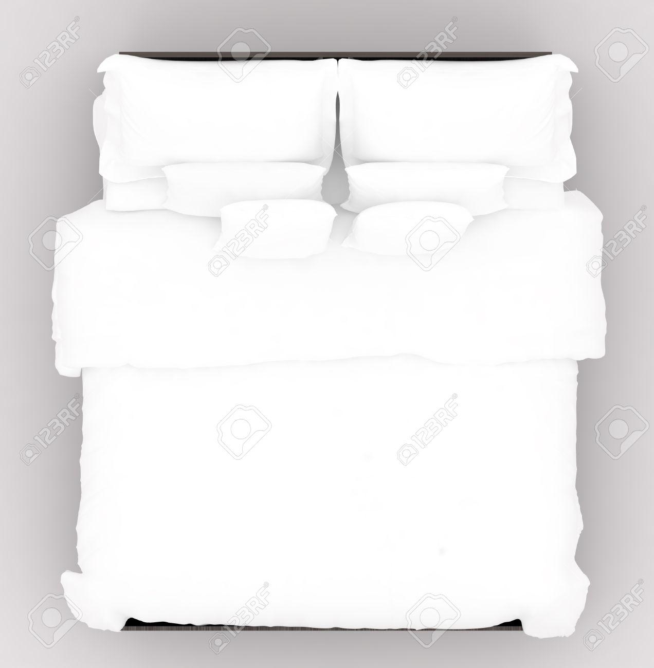 柔らかいマットレス付きのベッド。平面図、3 D イラストレーター