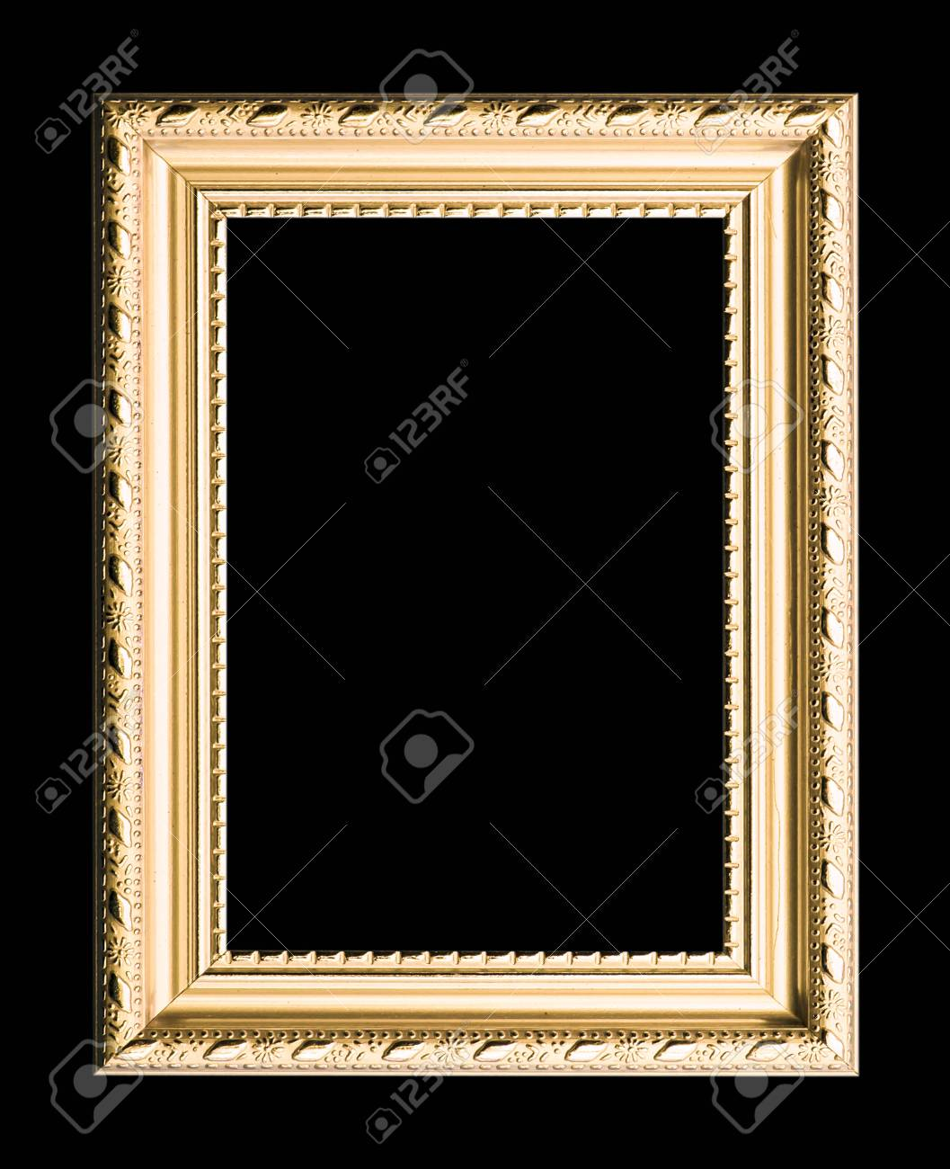 3538694647c wooden frame for painting or picture on black background Stock Photo -  72539751