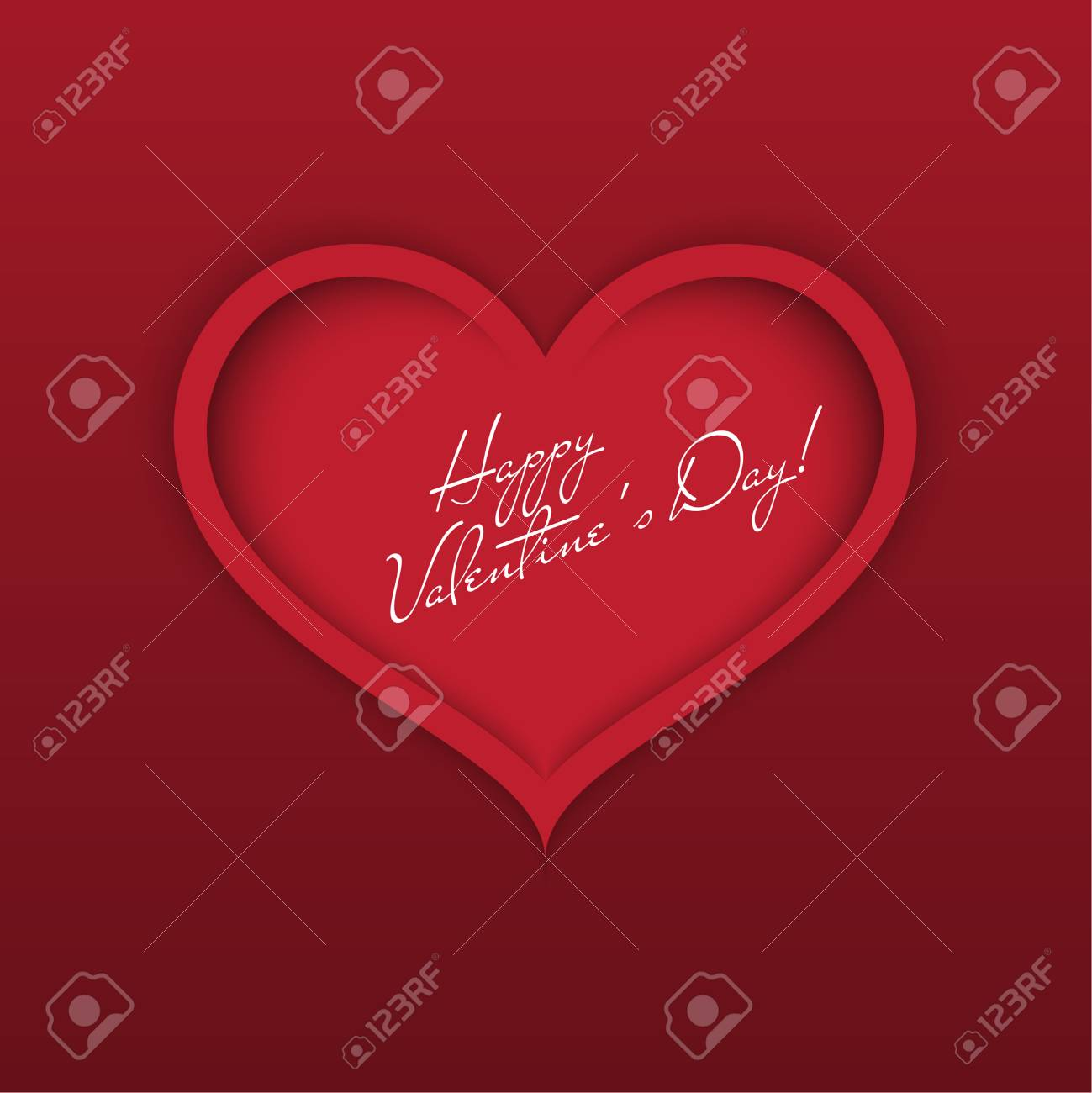 Greeting Card Happy Valentines Day Red Heart With Shadows And
