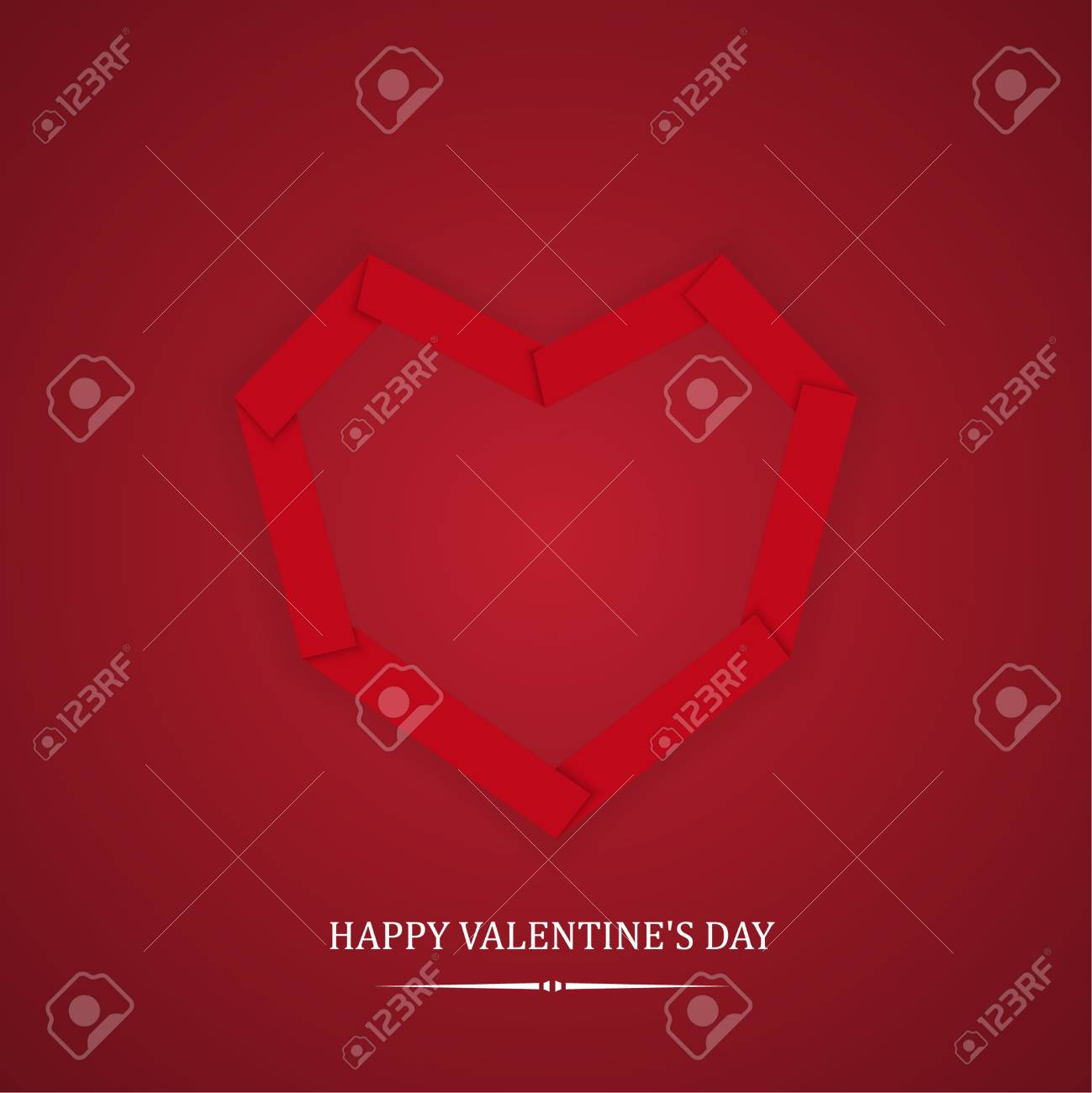 Greeting Card Happy Valentines Day Heart From Paper Strips