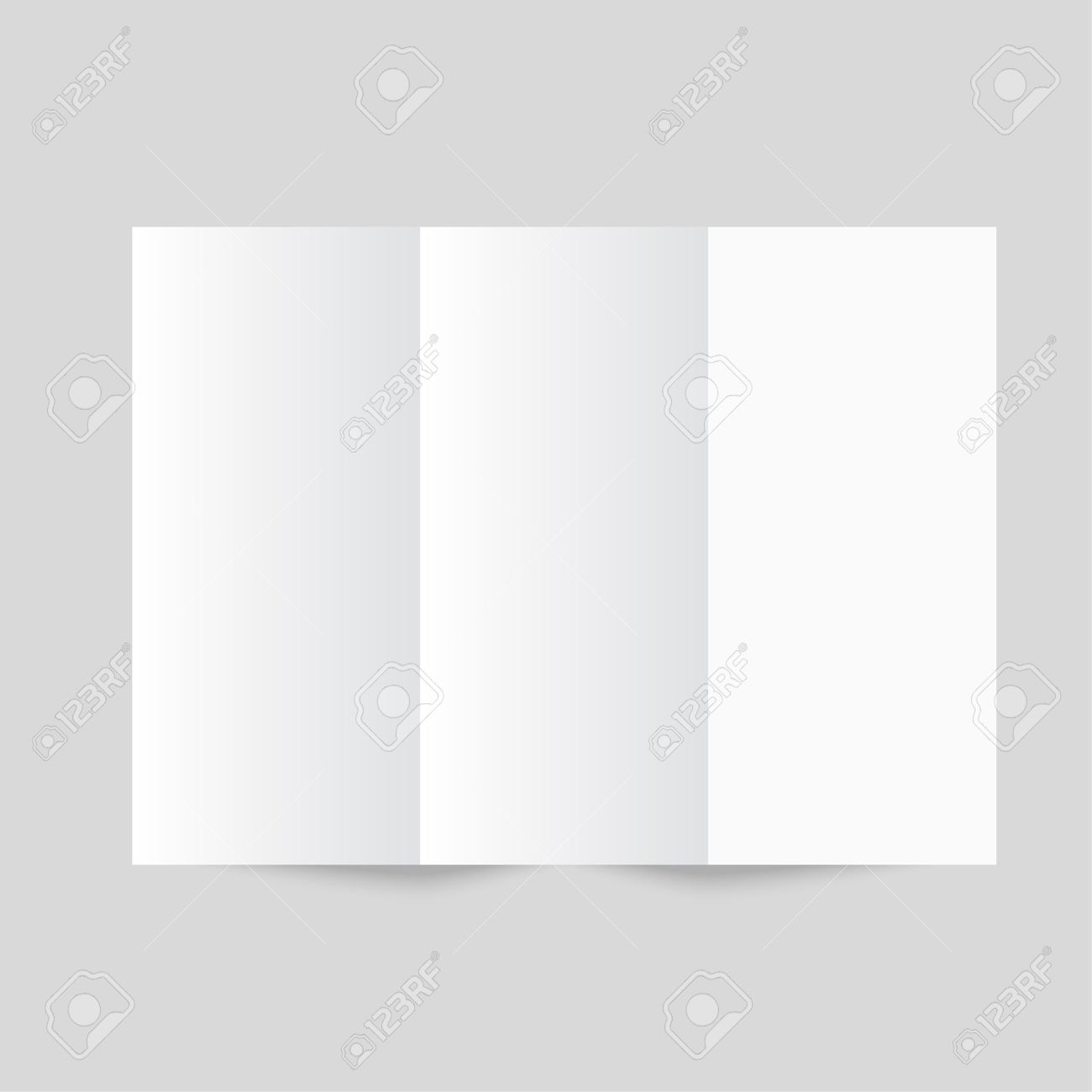 white stationery blank trifold paper brochure on gray background
