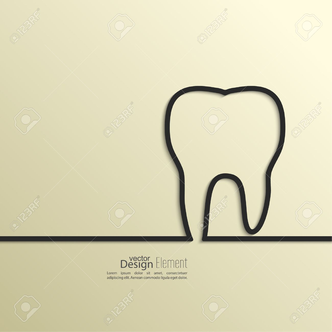 Ribbon In The Form Of Tooth With Shadow And Space For Text. Flat ...