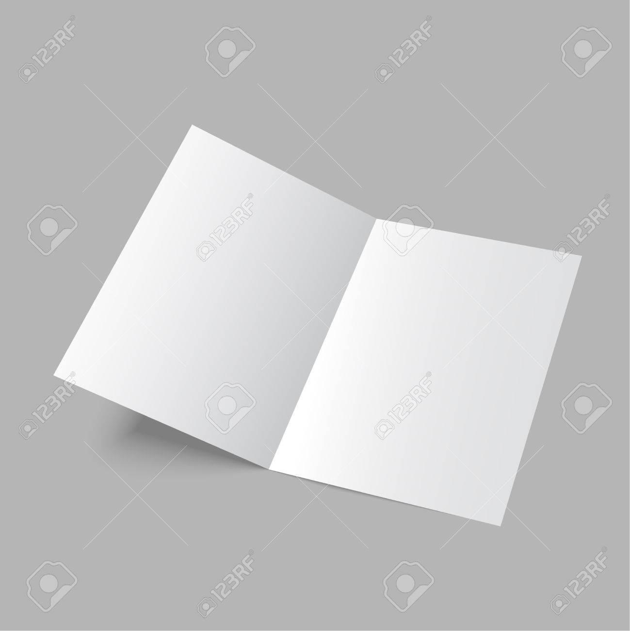 Liegen Zwei Leere Papier Falten Broschüre Auf Grauem Hintergrund ...