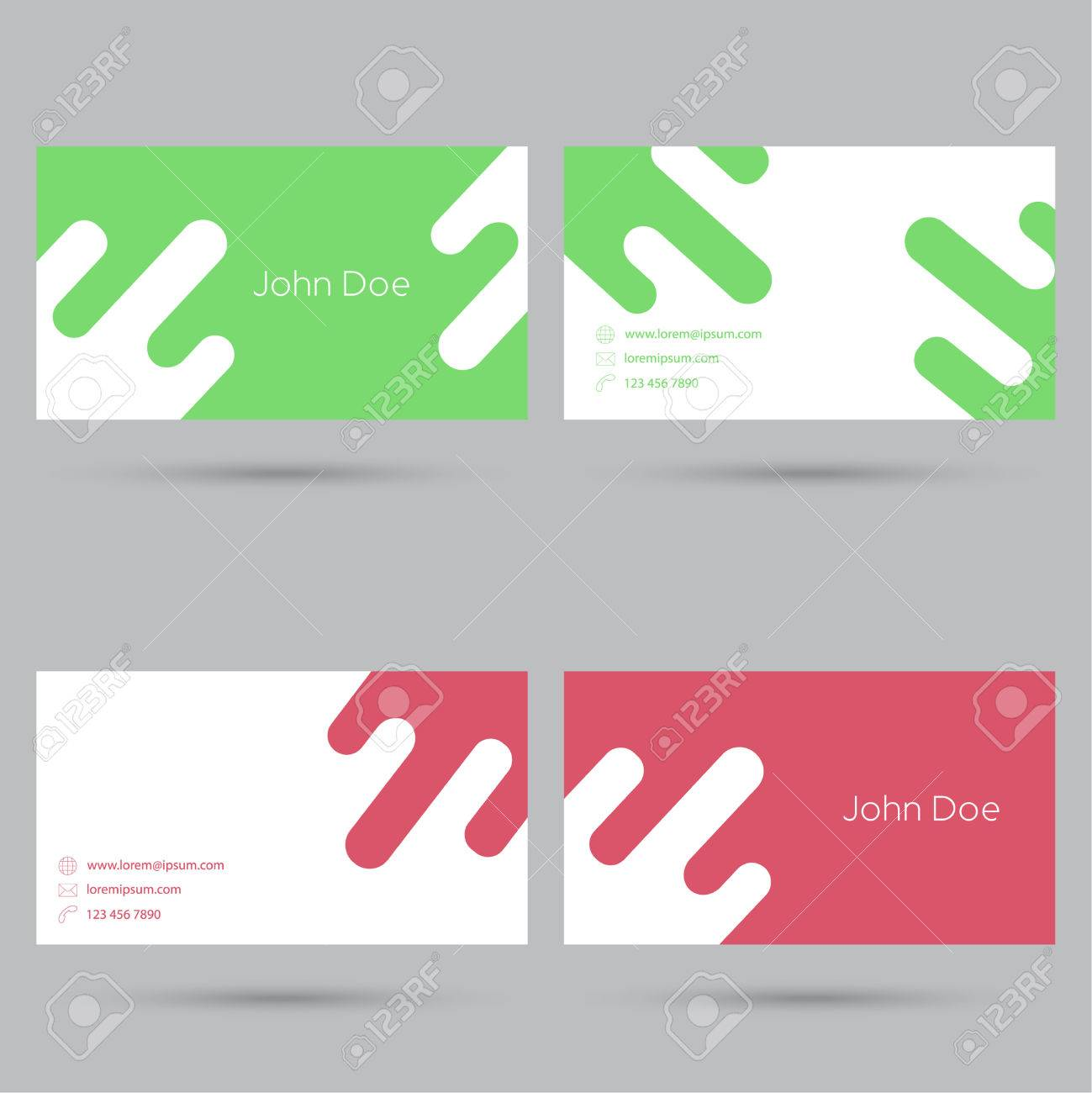 Trendy Business Card Template. Flat Design. Minimalism. Red ...