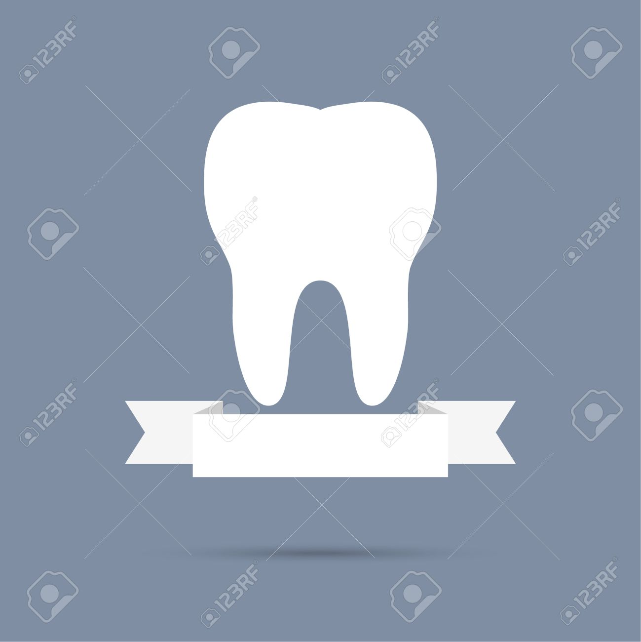 Human Tooth With A Ribbon. Flat Design. Banner, Graphic Or Website ...