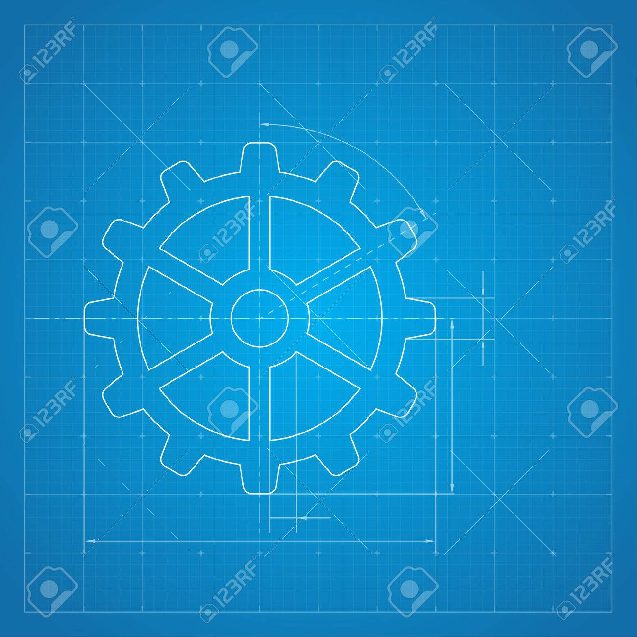 Paper blueprint background gears symbol on the drawing paper paper blueprint background gears symbol on the drawing paper concept of motion and mechanics malvernweather Images