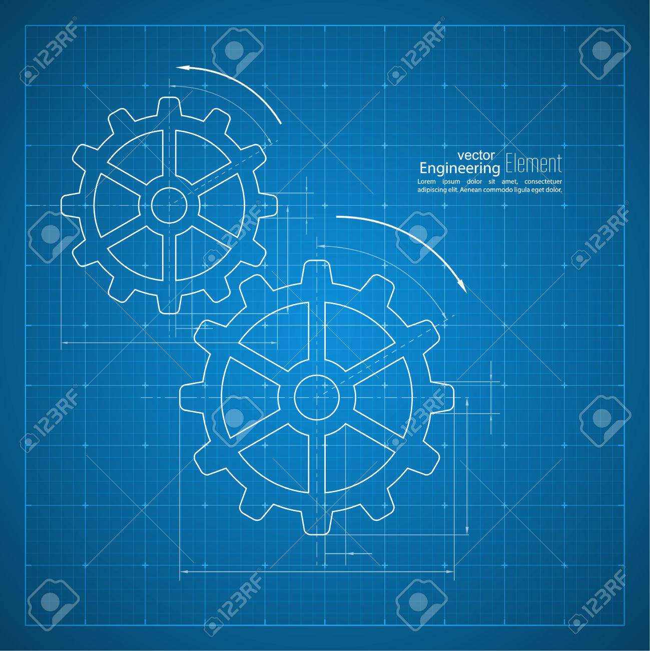 Paper blueprint background gears symbol on the drawing paper paper blueprint background gears symbol on the drawing paper concept of motion and mechanics malvernweather Gallery