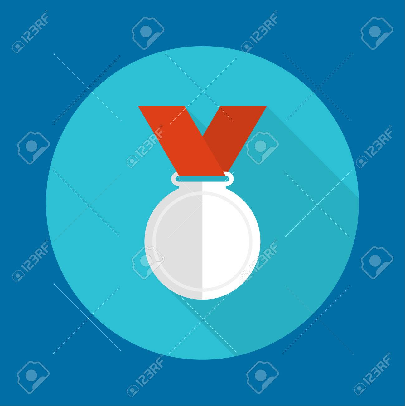 silver medal red ribbon a flat design a long shadow silver medal red ribbon a flat design a long shadow second prize