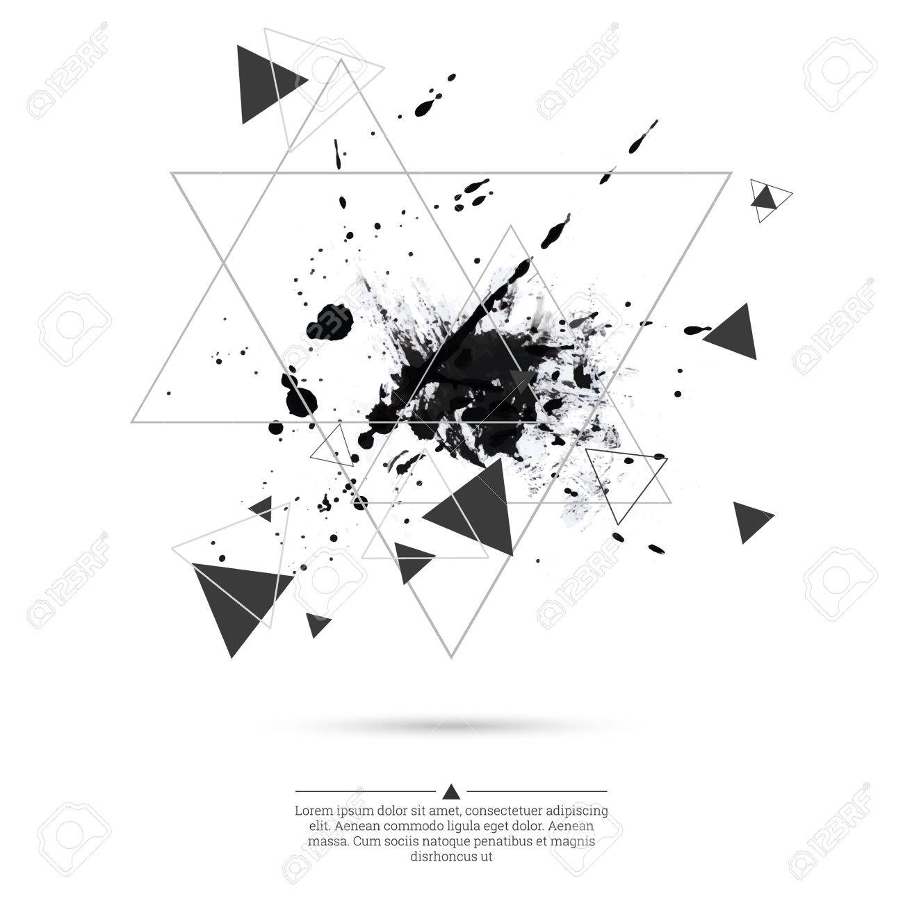 Shirt design ink - Abstract Background With Hipster Triangles And Ink Splatter Black Drop Triangle Pattern Background
