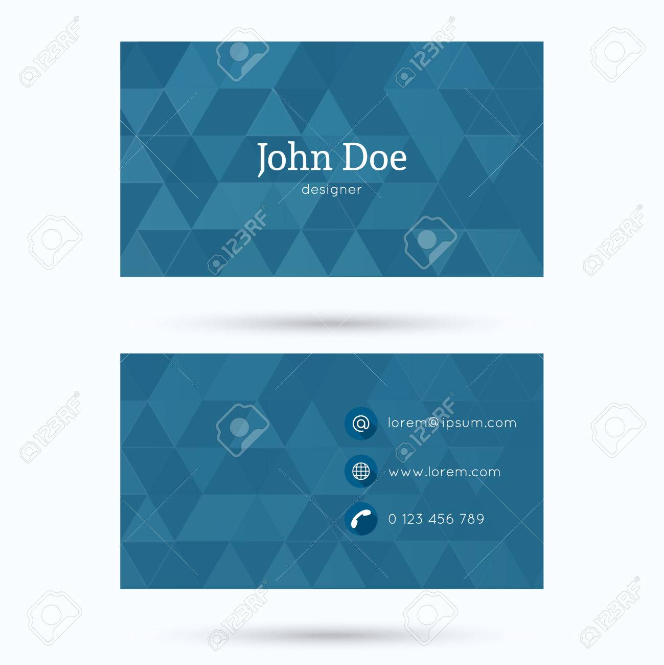 business card or visiting card template with a triangular texture