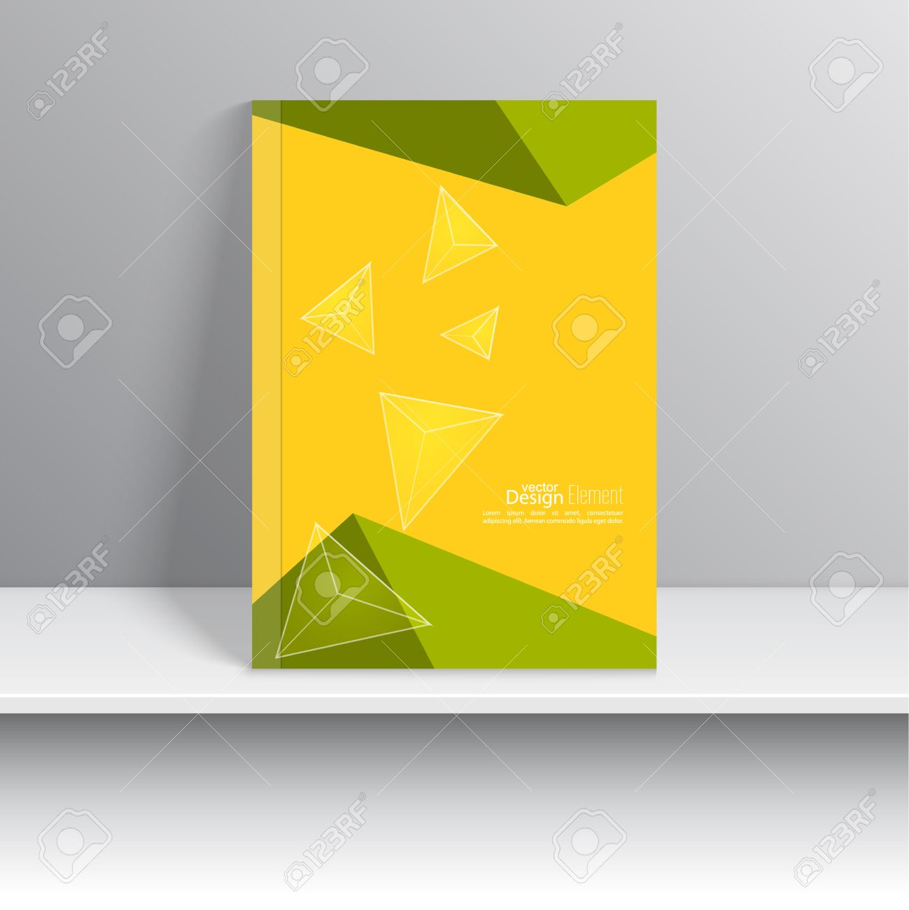 Magazine cover with glossy transparent pyramids triangles for for book brochure flyer poster booklet leaflet cd cover design postcard business card annual report vector illustration abstract background reheart Images