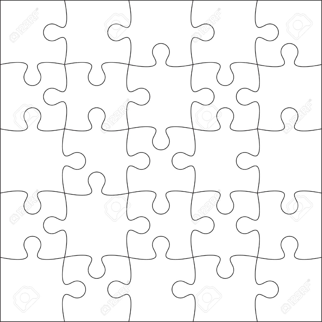 Jigsaw Puzzle Blank Template Or Cutting Guidelines Of 20 Pieces – Blank Puzzle Template