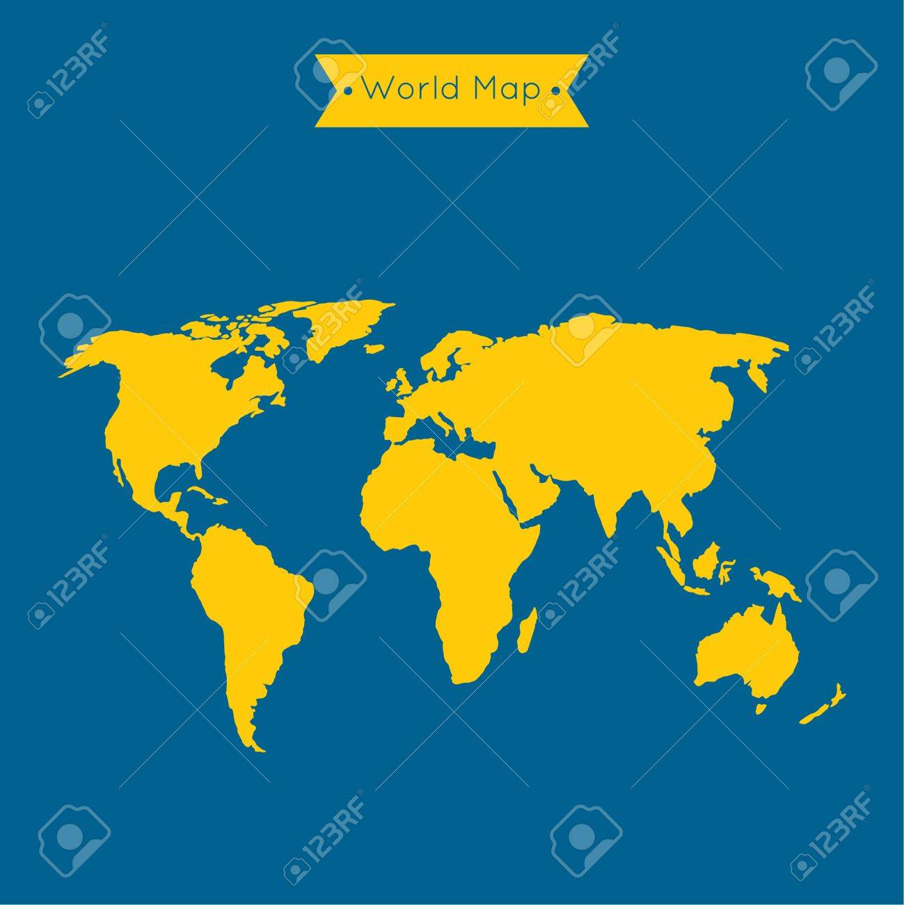 World map and ribbon a flat design for web and mobile app royalty vector world map and ribbon a flat design for web and mobile app gumiabroncs Image collections