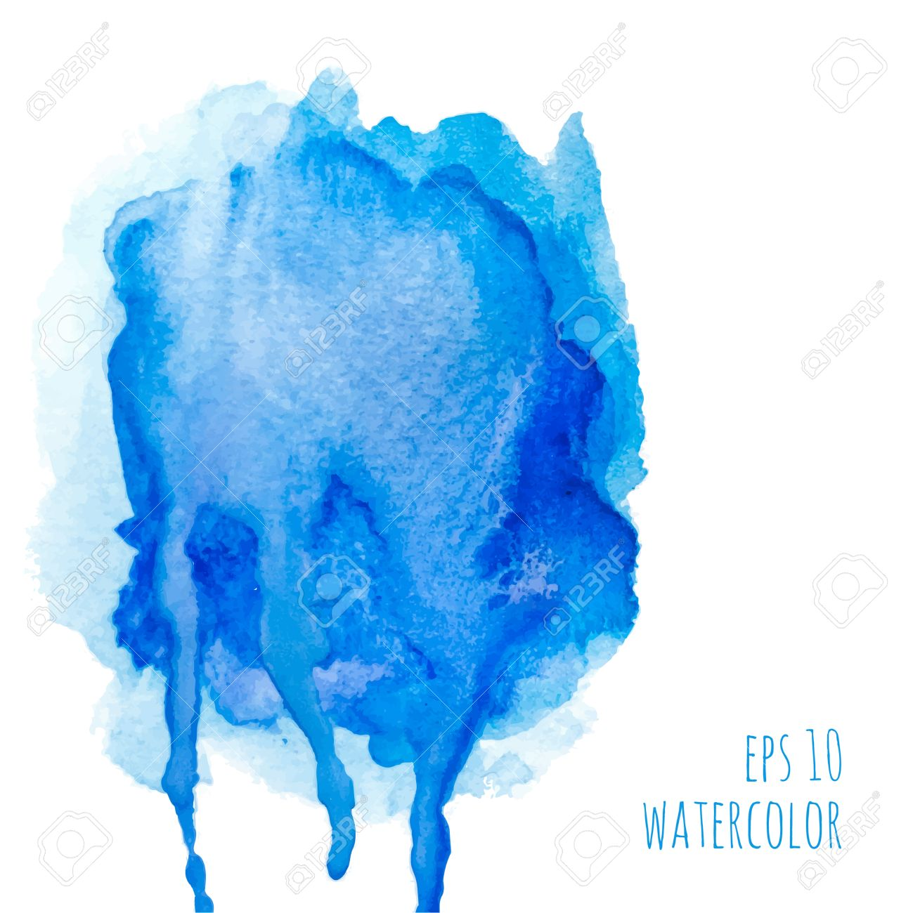 Vector Watercolor Stain With Streaks Of Paint. Blue. Template ...
