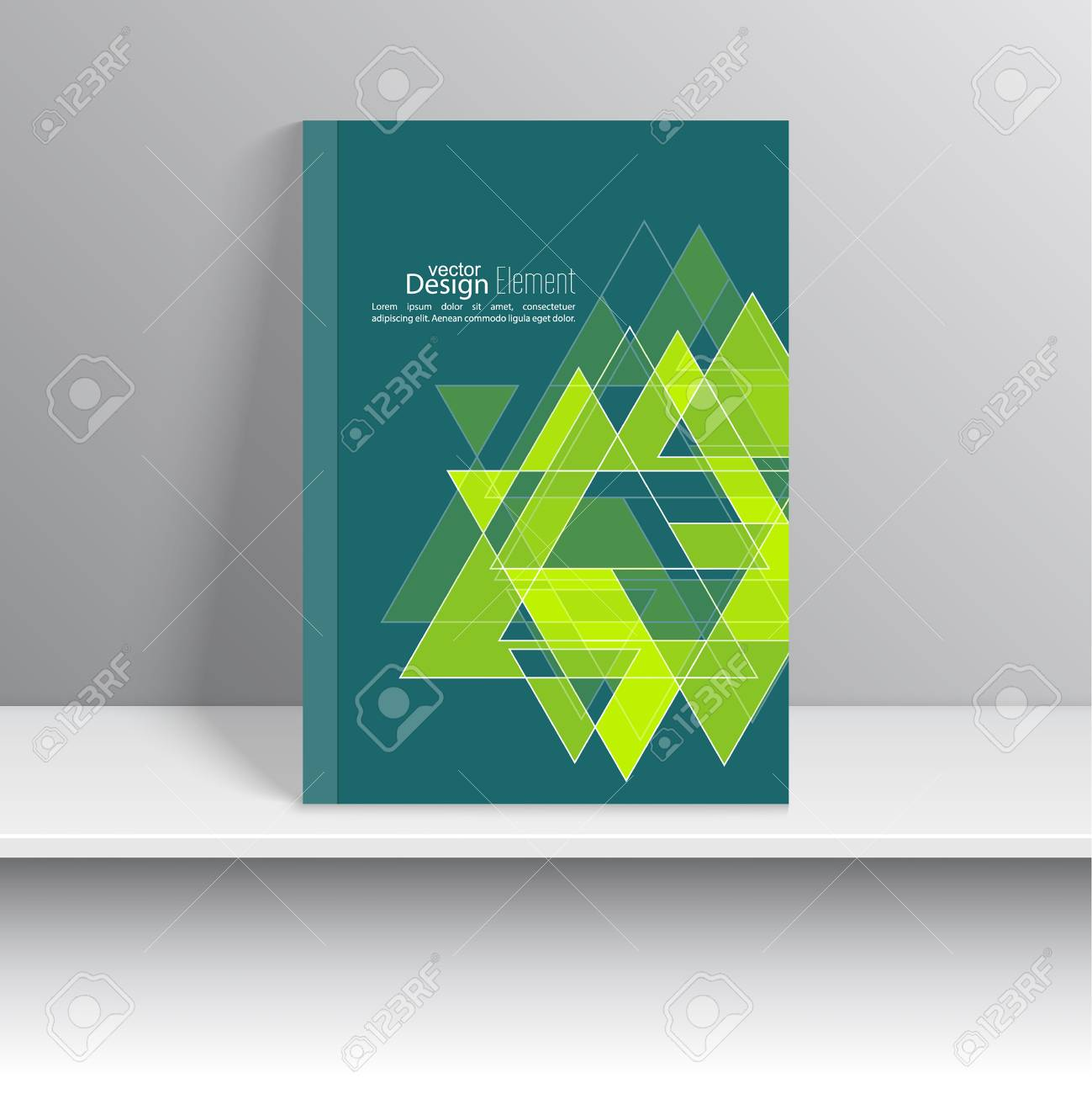Magazine Cover With Glossy Pyramids, Triangles. For Book, Brochure ...