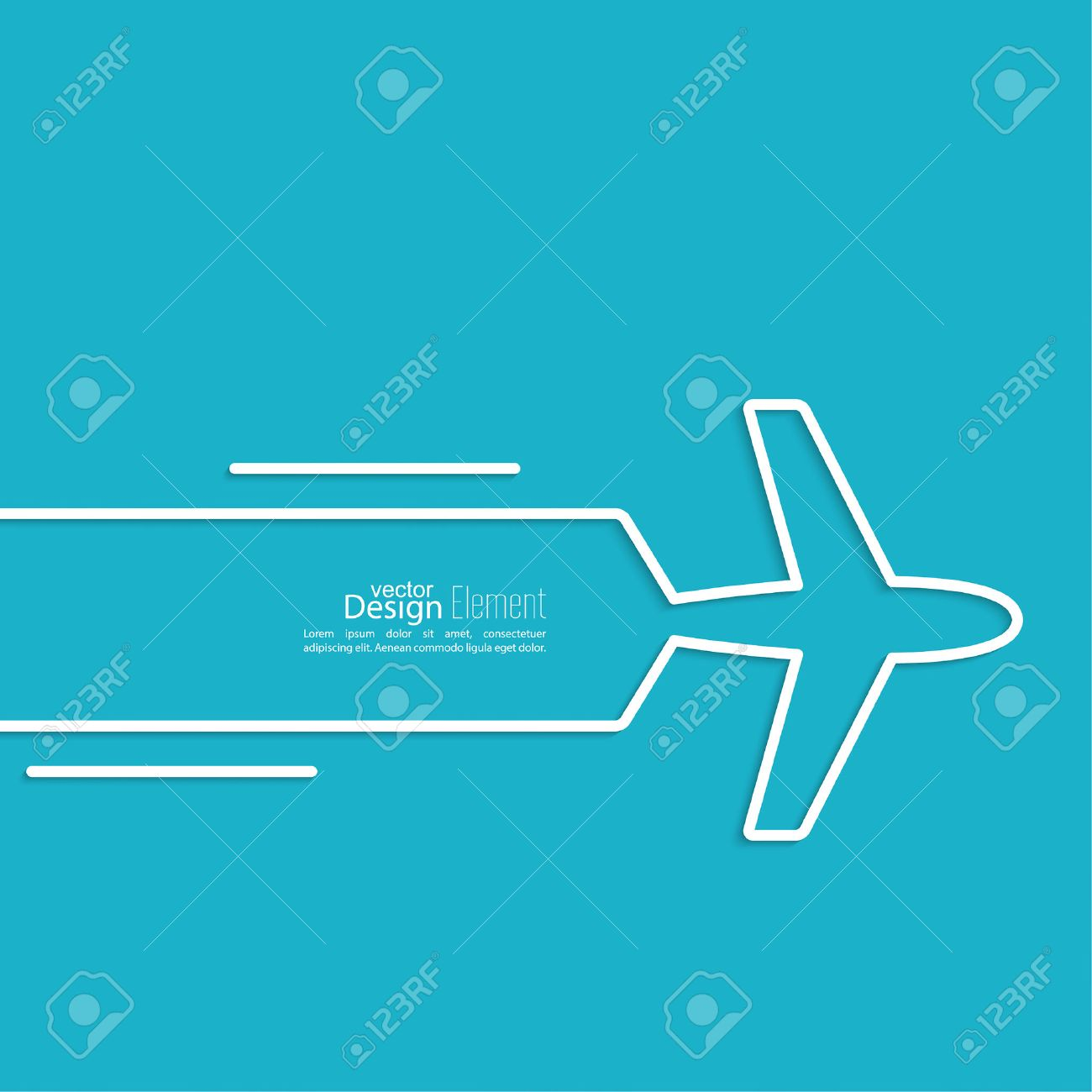 icon airplane and banner for text speed airlines outline
