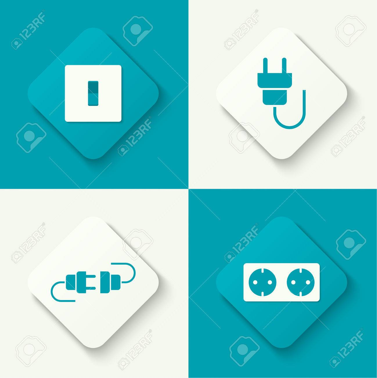 Set Of Vector Icons With Wire Plug And Socket, Power Switch ...
