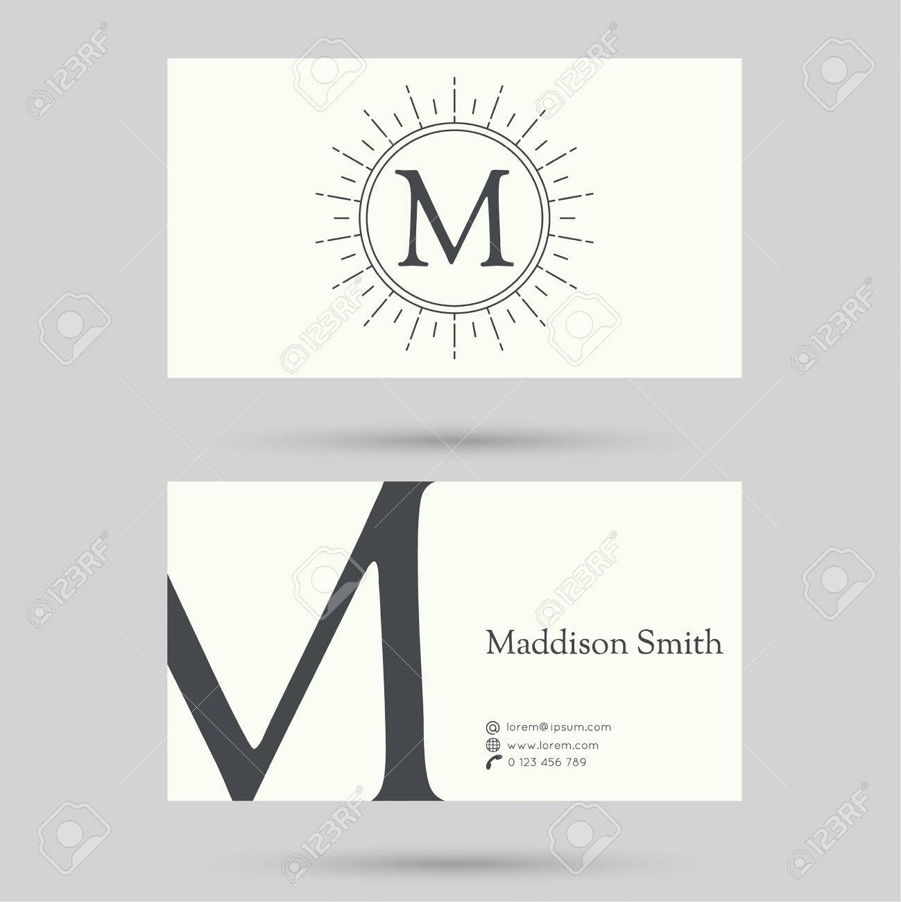 Trendy Business Card Template With Vintage Hipster Banners ...